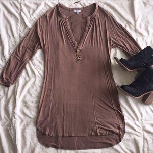 Long sleeve, V-neck tunic dress